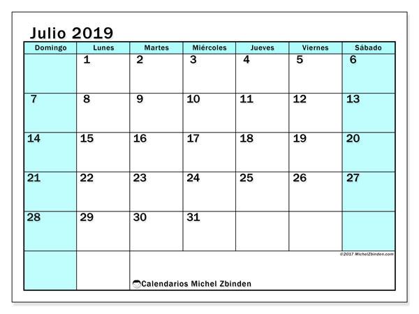 Calendario julio 2019, 59DS. Almanaque para imprimir gratis.