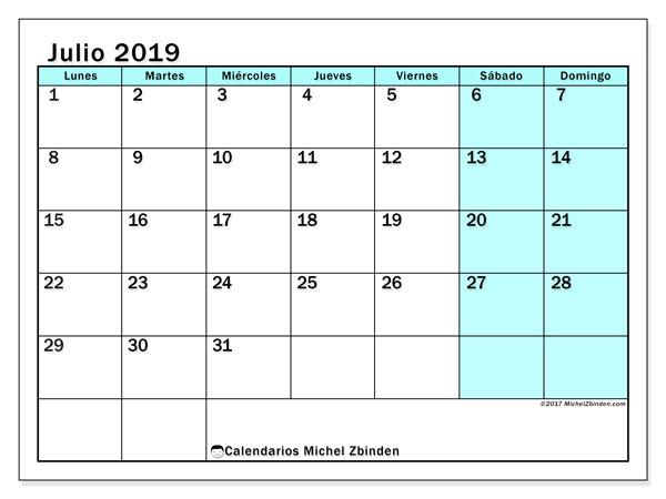 Julio Calendario 2019.Calendario Julio 2019 59ld Michel Zbinden Es