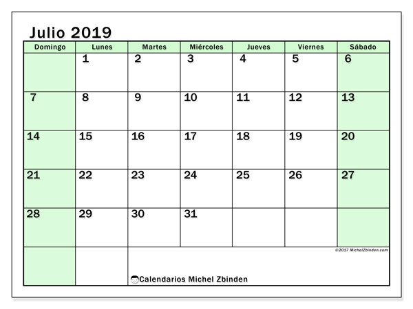 Calendario julio 2019, 60DS. Calendario para imprimir gratis.