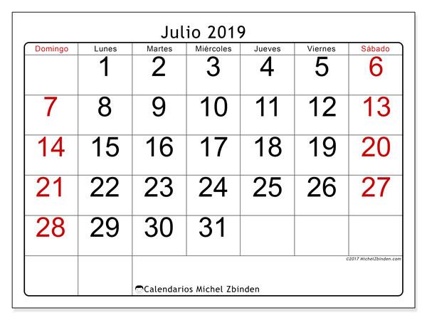 Calendario julio 2019, 62DS. Almanaque para imprimir gratis.