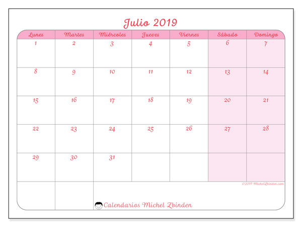 Calendario julio 2019, 63LD. Planificación para imprimir gratis.