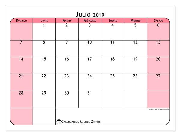 Calendario julio 2019, 64DS. Almanaque para imprimir gratis.