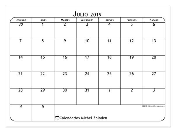 Calendario julio 2019, 67DS. Calendario para imprimir gratis.