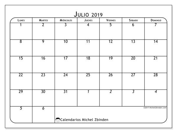 Calendario julio 2019, 67LD. Calendario imprimible gratis.