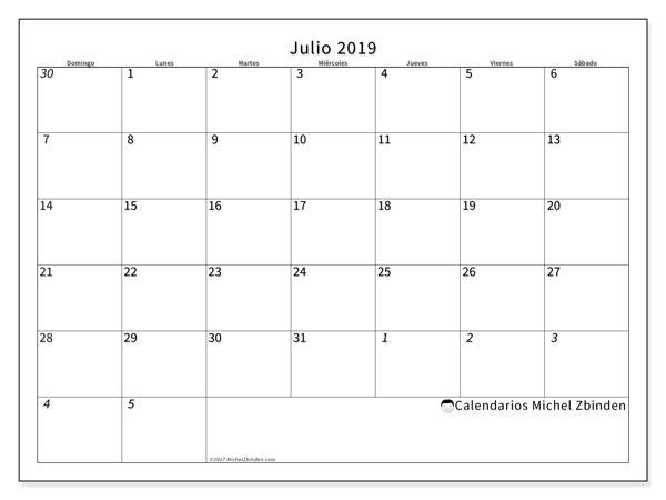 Calendario julio 2019, 70DS. Calendario gratuito para imprimir.