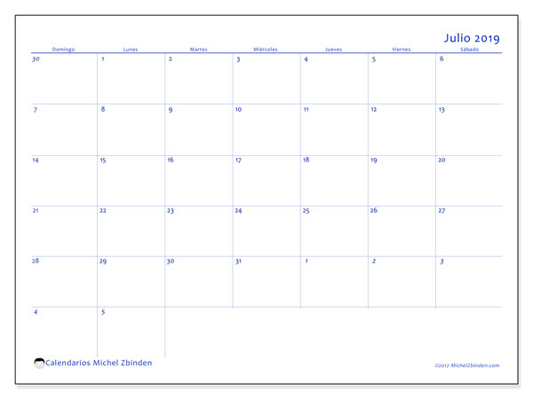Calendario julio 2019, 73DS. Calendario para el mes para imprimir gratis.