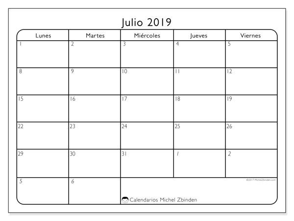 Calendario julio 2019, 74DS. Calendario para imprimir gratis.