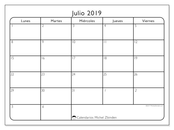 Calendario julio 2019, 74LD. Calendario gratuito para imprimir.