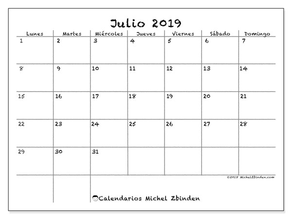 Calendario 2019 Mes A Mes.Calendarios Julio 2019 Ld Michel Zbinden Es