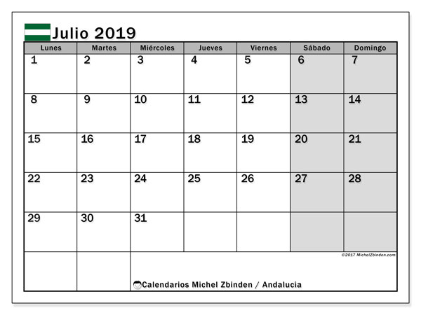 Calendario julio 2019, con los días festivos de Andalucia. Planificación para imprimir gratis.