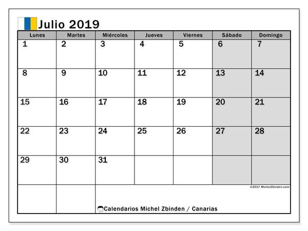 Calendario julio 2019, con los días festivos de las Islas Canarias. Calendario para imprimir gratis.