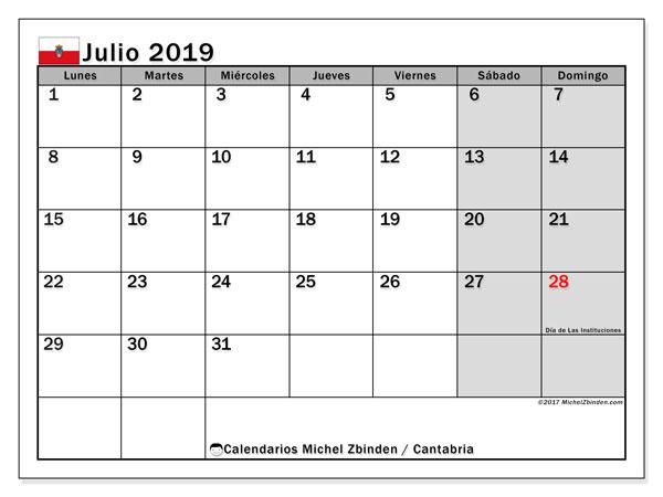 Calendario julio 2019, con los días festivos de Cantabria. Almanaque para imprimir gratis.