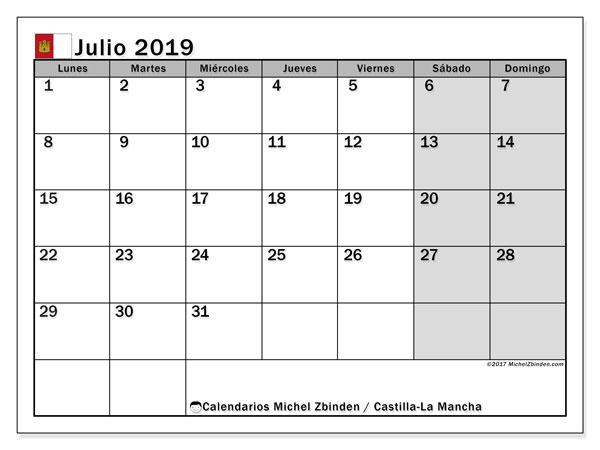 Calendario julio 2019, con los días festivos de Castilla-La Mancha. Calendario para imprimir gratis.