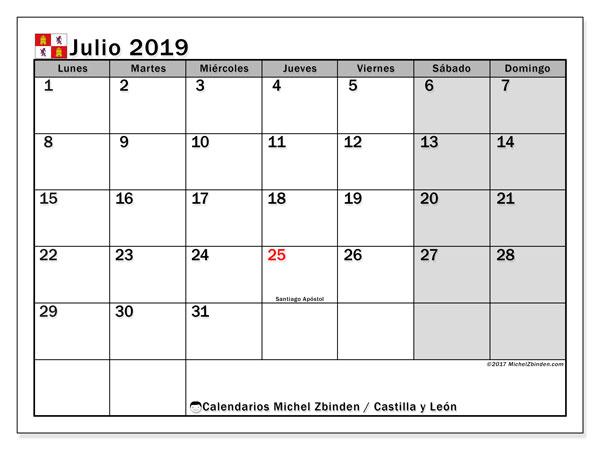 Calendario julio 2019, con los días festivos de Castilla y León. Planificación para imprimir gratis.