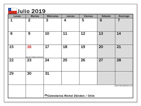 Calendario 2019 Julio Chile.Calendario Julio 2019 Chile Michel Zbinden Es