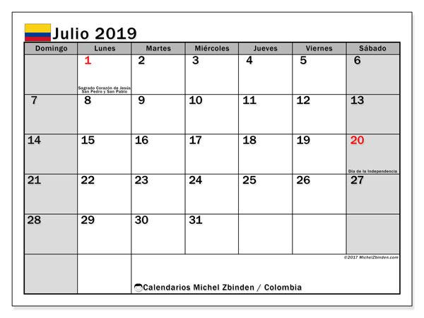 Julio Calendario.Calendario Julio 2019 Colombia Michel Zbinden Es