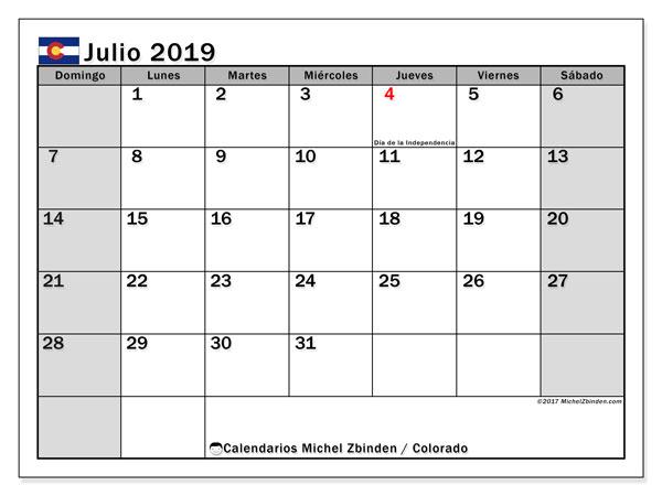 Calendario julio 2019, con días feriados en Colorado. Calendario para imprimir gratis con días festivos.