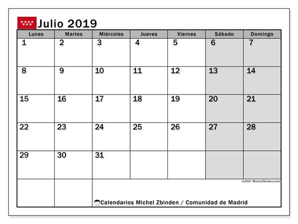 Calendario julio 2019, con los días festivos de la Comunidad de Madrid. Calendario gratuito para imprimir.