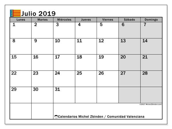 Calendario julio 2019, con días feriados de la Comunidad Valenciana. Calendario para imprimir gratis con días festivos.