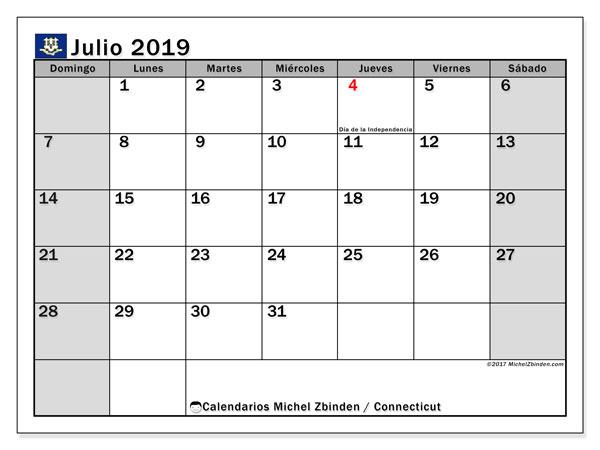 Calendario julio 2019, con días feriados en Connecticut. Calendario vacaciones y festivos para imprimir gratis.