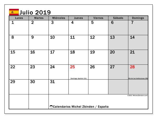 Calendario julio 2019, con los días festivos de España. Almanaque para imprimir gratis.
