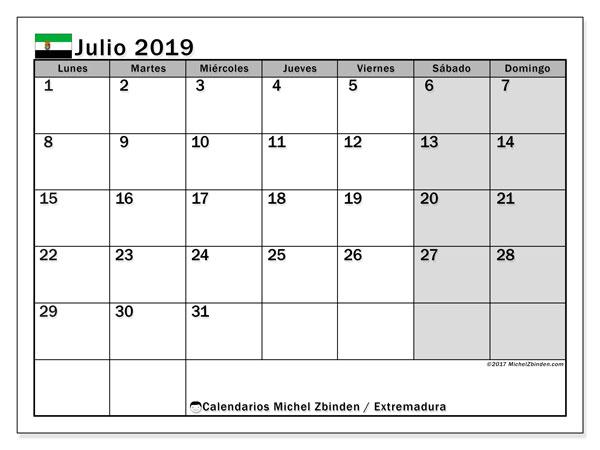 Calendario julio 2019, con los días festivos de Extremadura. Calendario imprimible gratis.