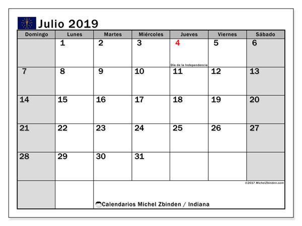Calendario julio 2019, con días feriados de Indiana. Calendario vacaciones y festivos para imprimir gratis.