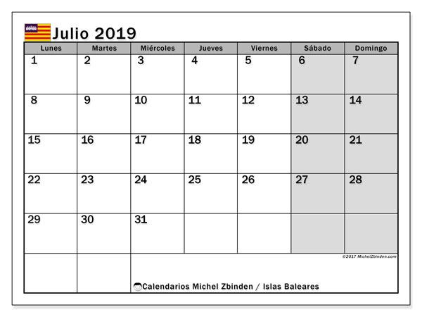 Calendario julio 2019, con los días festivos de las Islas Baleares. Calendario mensual para imprimir gratis.