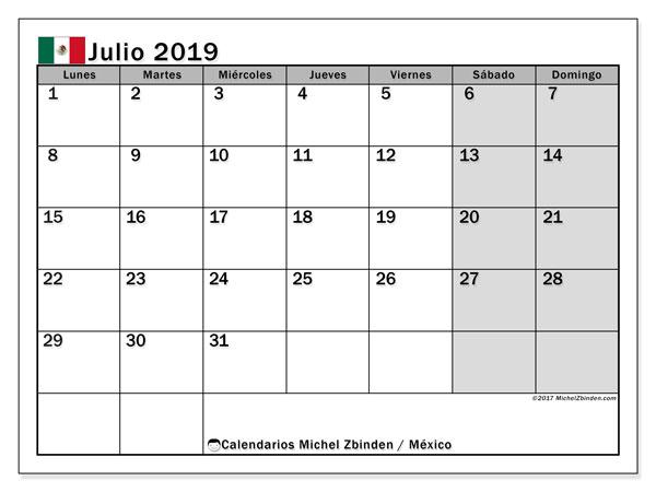 Calendario julio 2019, con los días feriados en México. Calendario gratuito para imprimir.