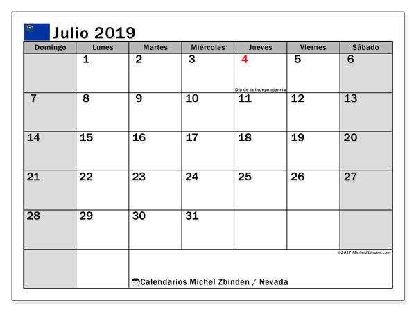 Calendario julio 2019, con días feriados en Nevada. Calendario vacaciones y festivos para imprimir gratis.