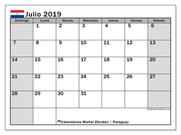 Calendario julio 2019, con los días feriados en Paraguay. Calendario mensual para imprimir gratis.