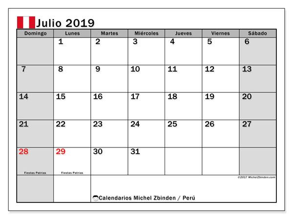 Calendario julio 2019, con los días feriados para Perú. Calendario gratuito para imprimir.