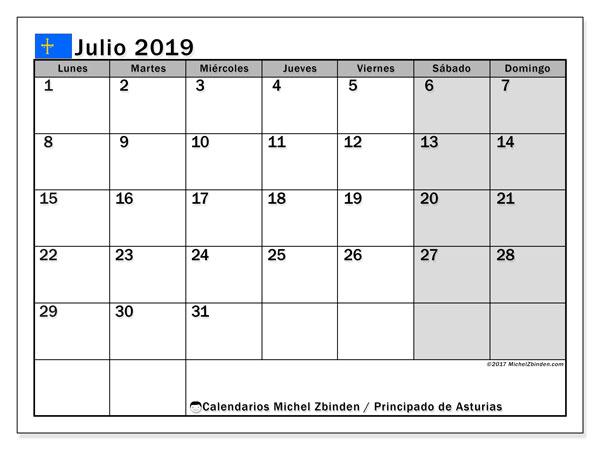Calendario julio de 2019 - Principado de Asturias. Calendario para imprimir: fiestas oficiales y días festivos.