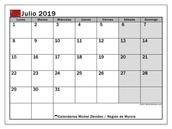 Calendario julio 2019, con los días festivos en la Región de Murcia. Calendario gratuito para imprimir.