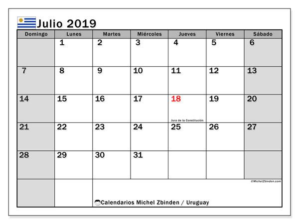 Calendario julio 2019, con días feriados de Uruguay. Calendario para imprimir gratis con días festivos.