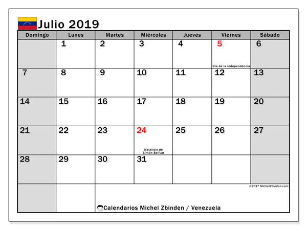 Calendario julio 2019, con los días feriados para Venezuela. Almanaque para imprimir gratis.