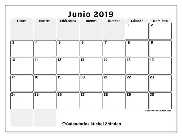 Calendario Junio 2019 Para Imprimir Pdf.Calendario Junio 2019