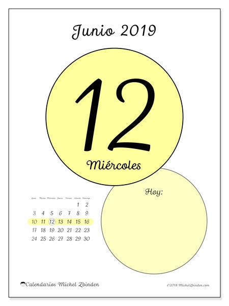 Calendario junio 2019, 45-12LD. Calendario diario para imprimir gratis.