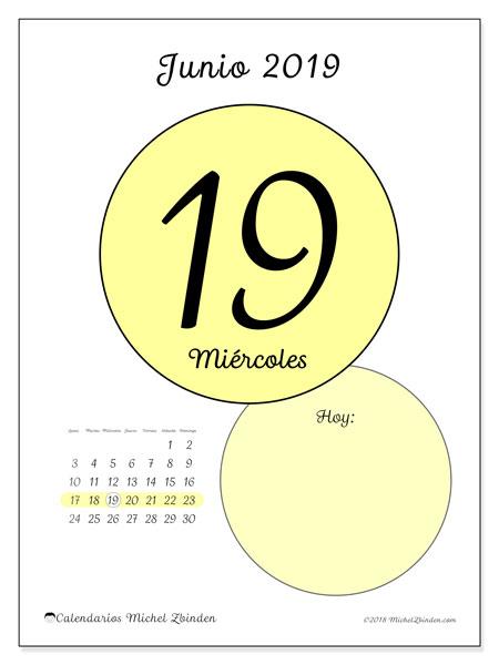 Calendario junio 2019, 45-19LD. Calendario diario para imprimir gratis.