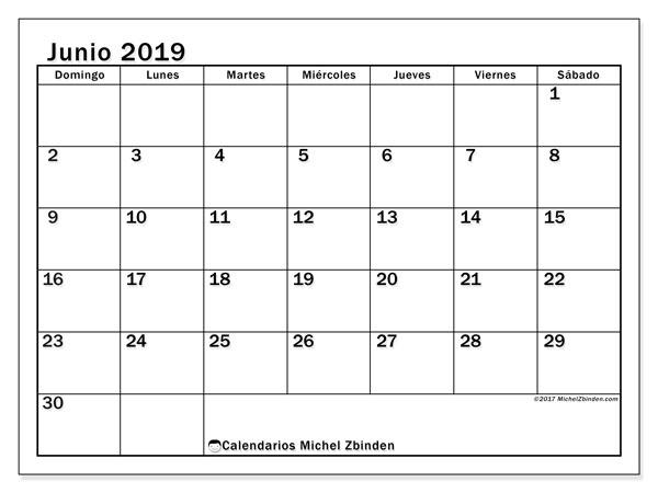 Calendario  junio de 2019, 50DS
