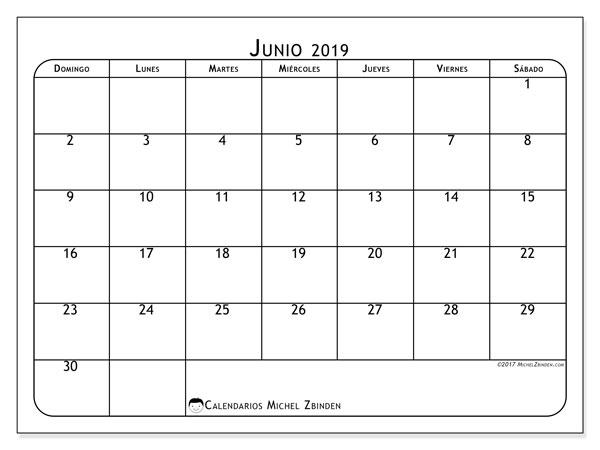 Calendario  junio de 2019, 51DS