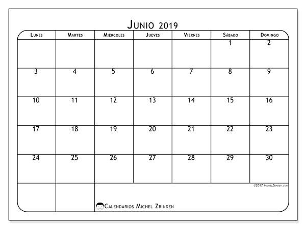 Calendario  junio de 2019, 51LD