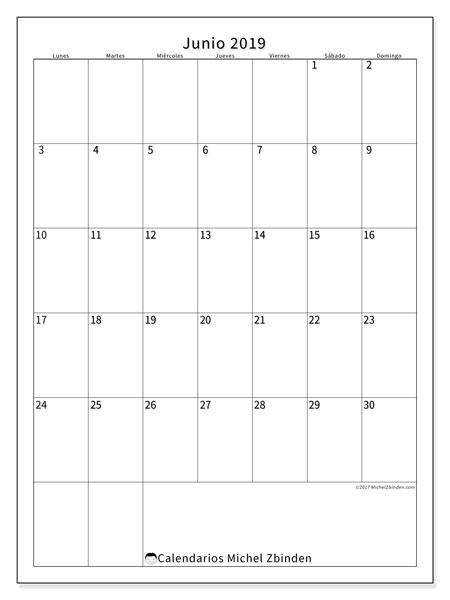 Calendario junio 2019, 52LD. Calendario para el mes para imprimir gratis.