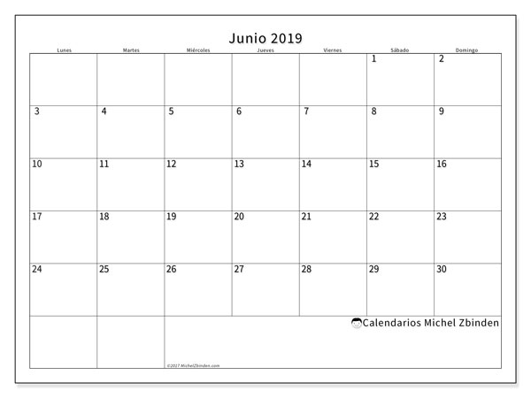 Calendario De Junio.Calendario Junio 2019 53ld Michel Zbinden Es