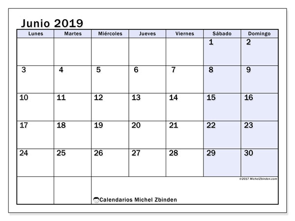 Calendario De Junio.Calendario Junio 2019 57ld Michel Zbinden Es
