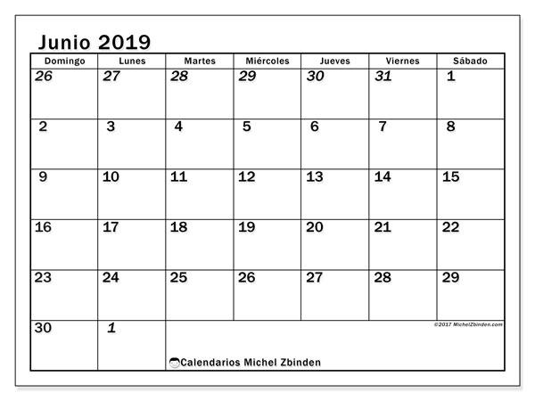 Calendario  junio de 2019, 66DS