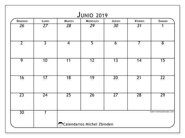 Calendario  junio de 2019, 67DS