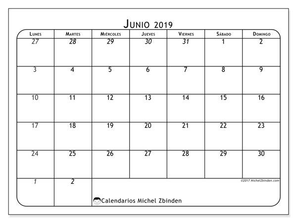 Calendario  junio de 2019, 67LD