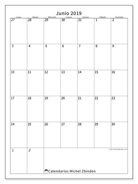 Calendario  junio de 2019, 68LD