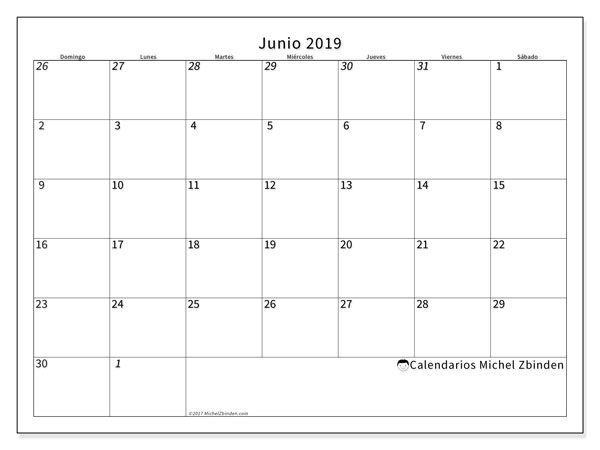 Calendario  junio de 2019, 70DS